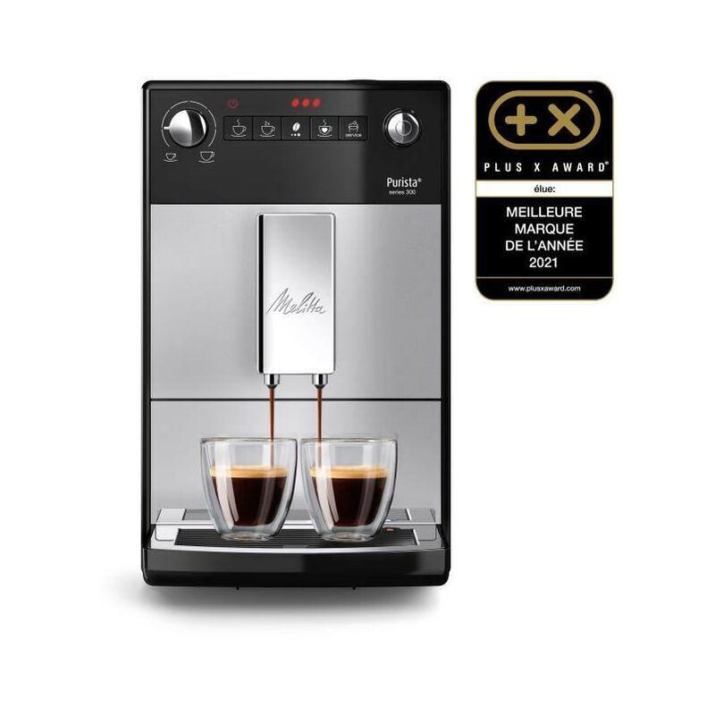 Melitta F230-101 - Machine a café Purista - Expresso Automatique avec broyeur a grains - 1450W - Réservoir d'eau 1,2L - Argent - Melitta