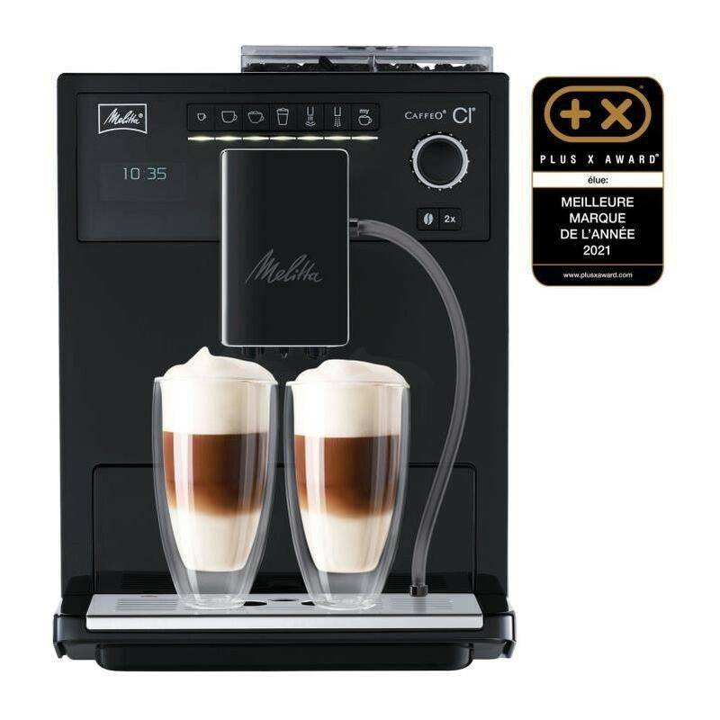 Melitta Machine a café espresso CI MELLITA MAE970-003 - Pure Black - 4 intensités de café - 3 réglages possibles du moulin conique en acier