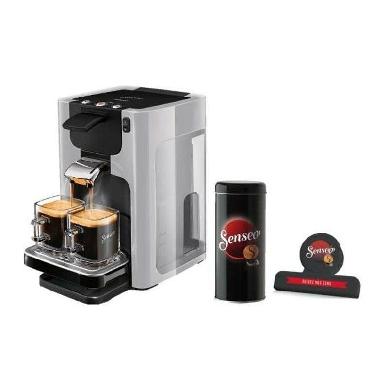 Philips Machine a café a dosettes SENSEO Quadrante HD7866/11 - Gris clair - Boîte de rangement dosettes + Pince fraîcheur - Philips