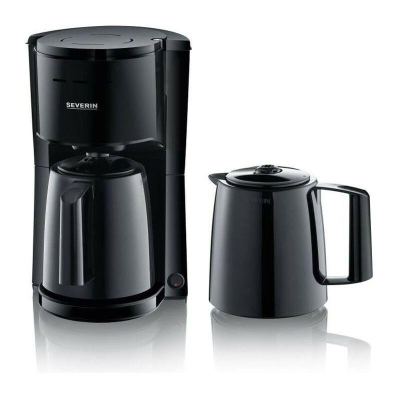 Severin KA9252 Cafetiere filtre isotherme avec 2 verseuses, 16 tasses soit 1 litre par verseuse, Puissance: 1 000 W, Inox / Noir - Severin