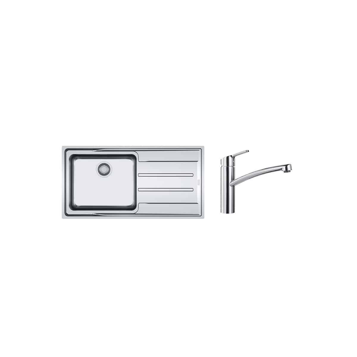 Franke PACK Franke Aton ANX211-100 + Mitigeur Smart à bec - Coloris : Inox Lisse - égouttoir A droite - Inox Lisse