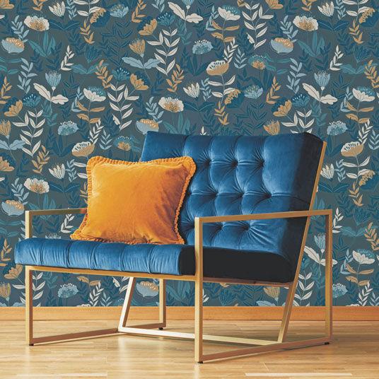 Papier peint vinyle sur intissé - Botanique - Fleurs vintage sur fond bleu - Rouleau(x)
