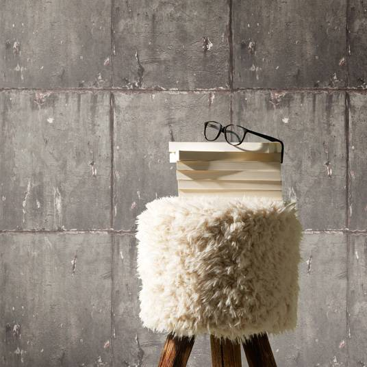 Papier peint vinyle sur intissé - Loft industriel - Trompe l'œil plaques de béton - Rouleau(x)