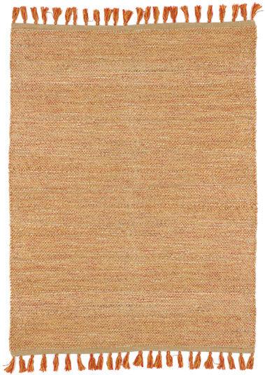 Déstockage Tapis naturel en jute et coton - Néo-ethnique rouge - 200 x 290 cm