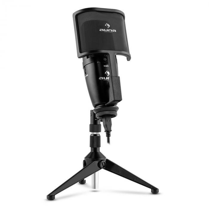 Auna Studio-Pro Microphone USB à condensateur à large membrane+ câble