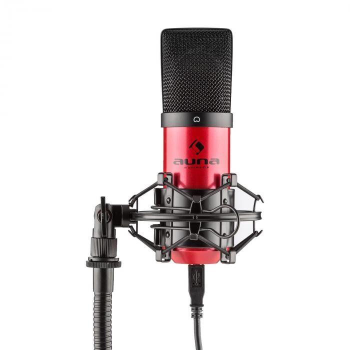 Auna MIC-900-RD USB Microphone de studio à condensateur cardioïde - rouge