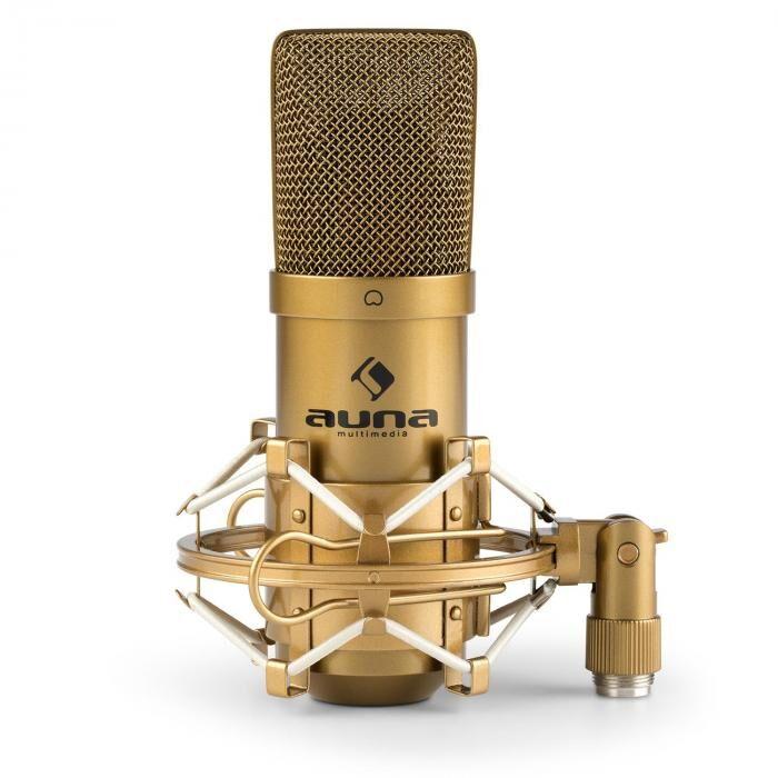 Auna MIC-900G USB Microphone de studio à condensateur cardioïde - or
