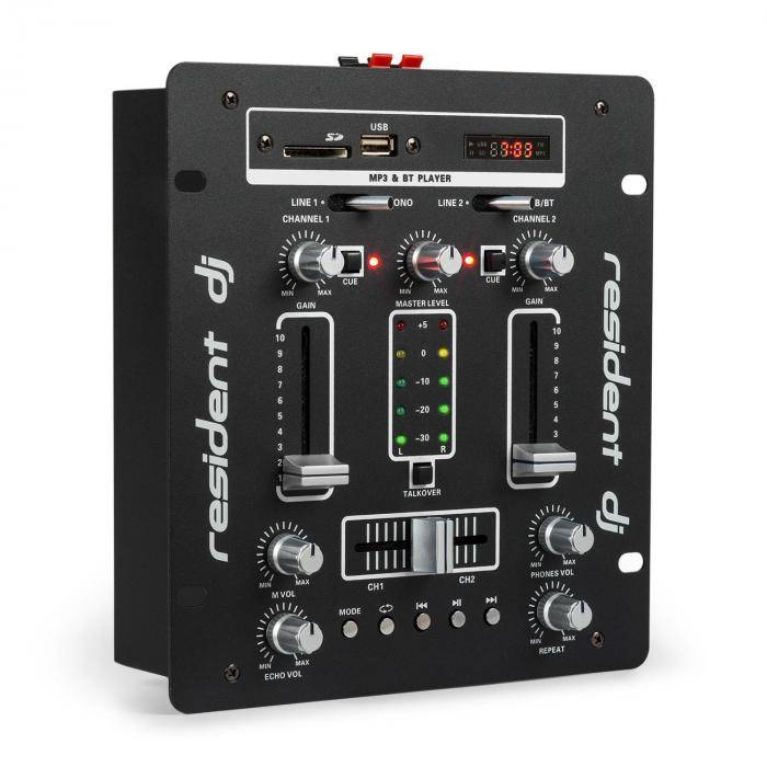 Resident DJ DJ-25 Table de mixage ampli Bluetooth USB SD - noir & blanc