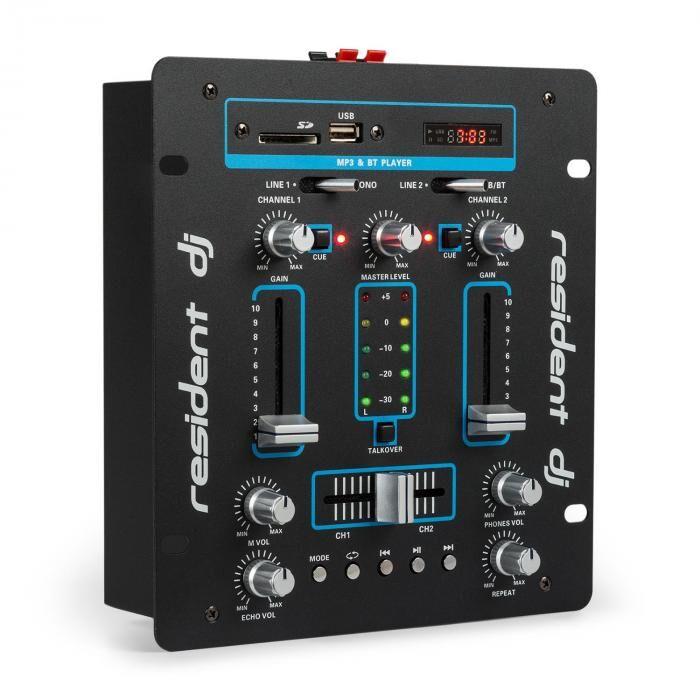 Resident DJ DJ-25 Table de mixage ampli Bluetooth USB SD - noir & bleu