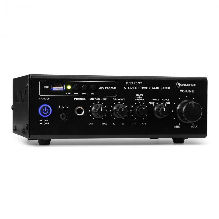Auna Amp3 USB Mini amplificateur stéréo prises microphone & casque - noir