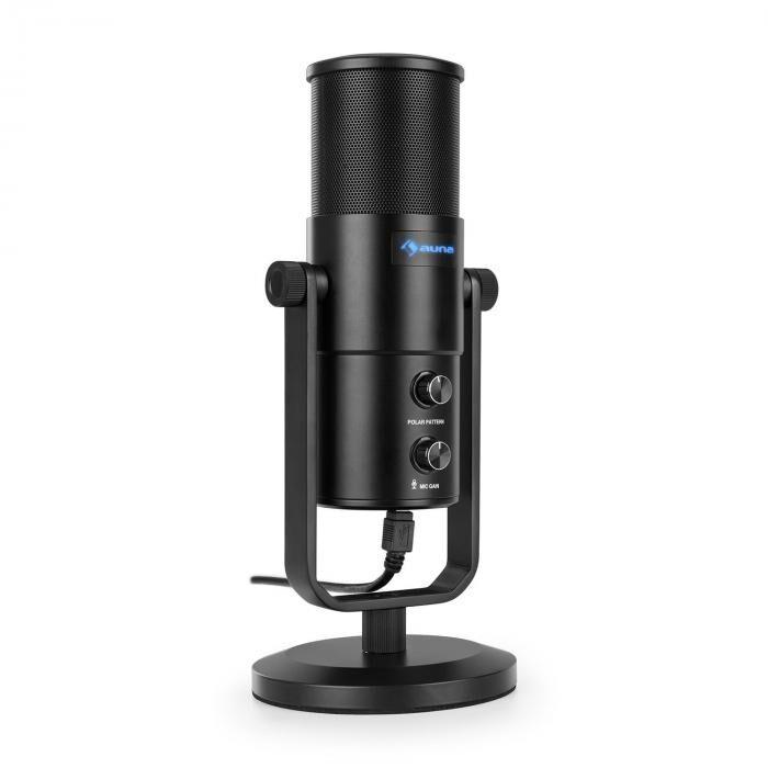 Auna Studio M USB Microphone à condensateur large membrane & trépied