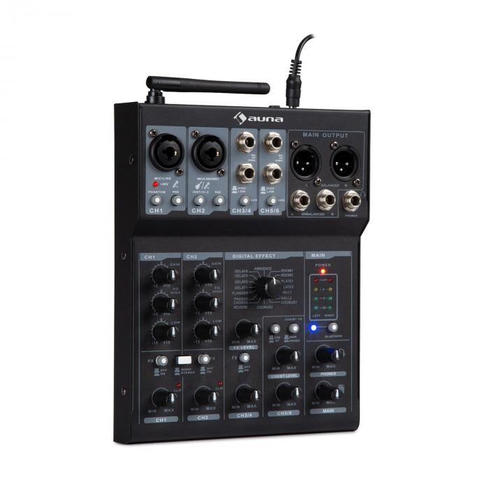 Auna Blackbird Table de mixage DJ 6 canaux Bluetooth USB MP3 - noire