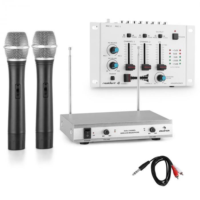 Electronic-Star Set micros sans fil VHF & table de mixage 3 canaux - blanc