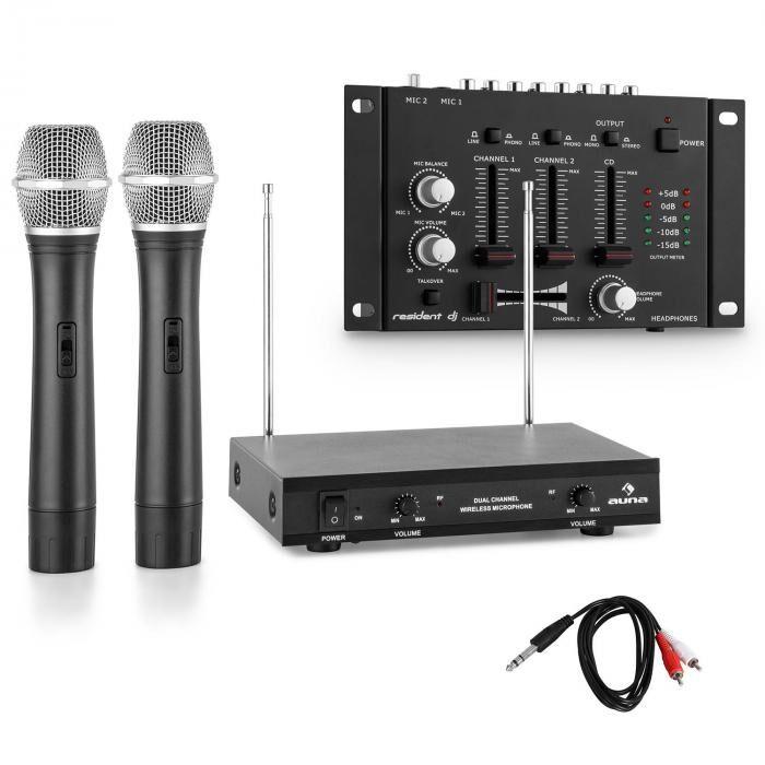 Electronic-star Set micros sans fil VHF avec table de mixage 3 canaux - noir