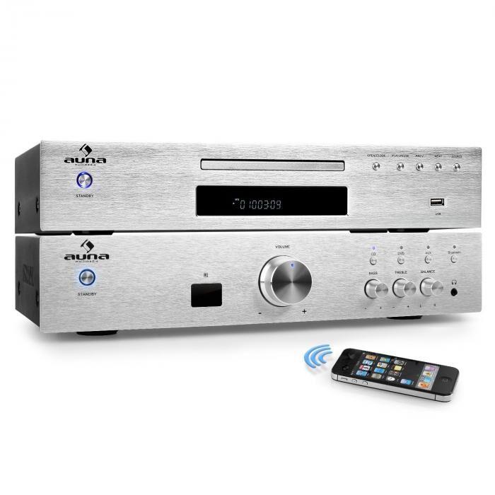 "Auna ""Elegance Tower Bluetooth"" 2.0 Set HiFi Lecteur CD MP3 & Amplificateur 600W"