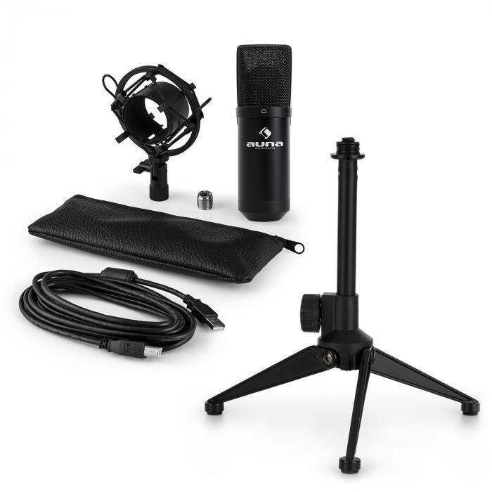 Auna MIC-900B USB kit micro V1   micro à condensateur noir   trépied de table