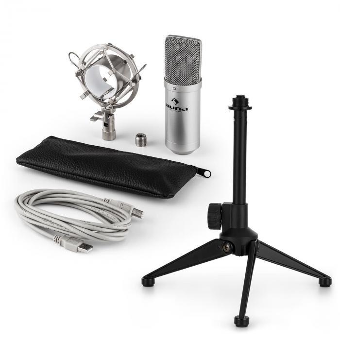 Auna MIC-900S USB kit micro V1   micro à condensateur argent   trépied de table