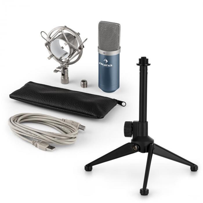 Auna MIC-900BL USB kit micro V1   micro à condensateur bleu   trépied de table