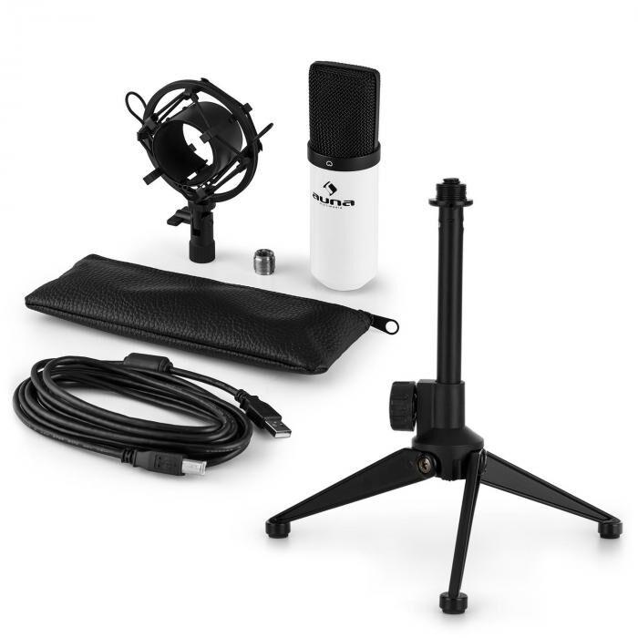 Auna MIC-900WH USB kit micro V1   micro à condensateur blanc   trépied de table