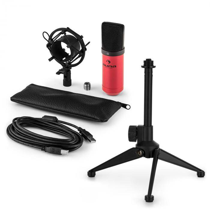 Auna MIC-900RD USB kit micro V1   micro à condensateur rouge   trépied de table