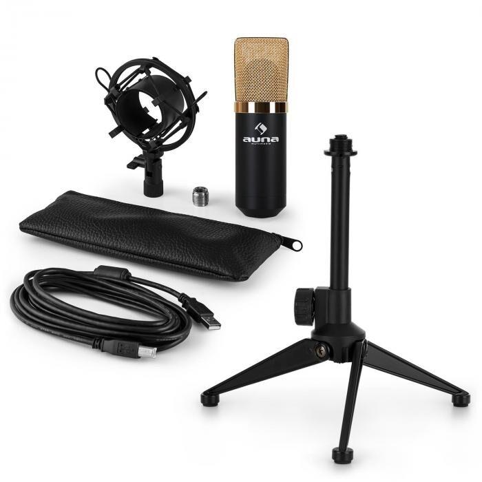 Auna MIC-900BG USB-LED kit micro V1   micro à condensateur noir   trépied réglable