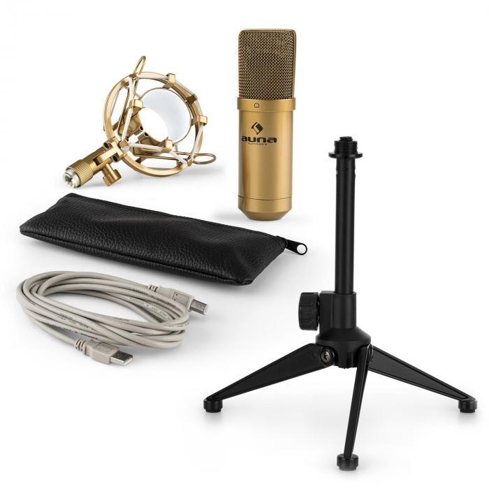 Auna MIC-900G USB kit micro V1   micro à condensateur or   trépied de table