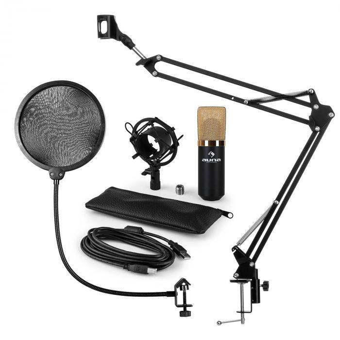 Auna MIC-900BG kit microphone V4 USB à condensateur filtre anti pop perchette or