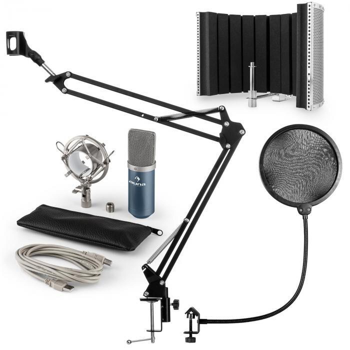 Auna MIC-900BL USB kit micro V5 condensateur filtres anti pop-bruit perche bleu