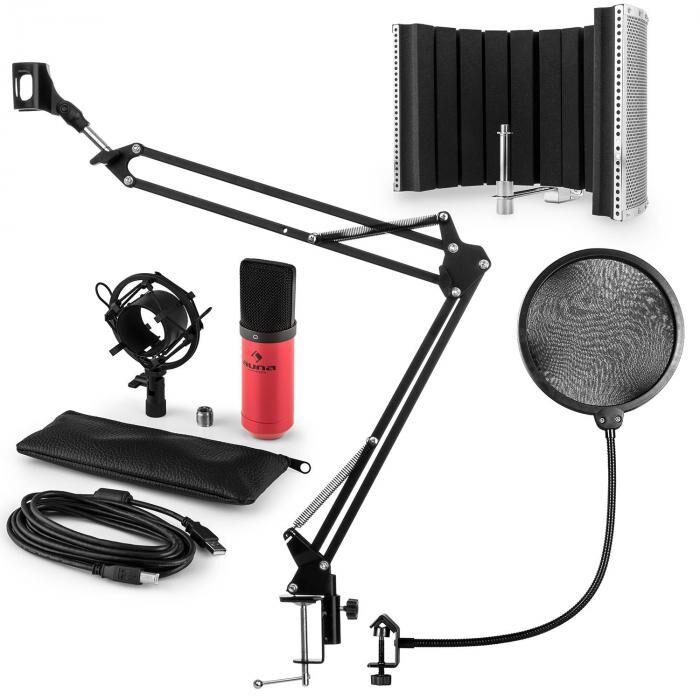 Auna MIC-900RD USB kit micro V5 à condensateur filtre anti-pop et bruit rouge