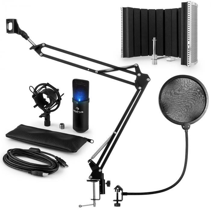 Auna MIC-900B-LED USB kit micro V5 à condensateur filtre anti-pop et bruit noir