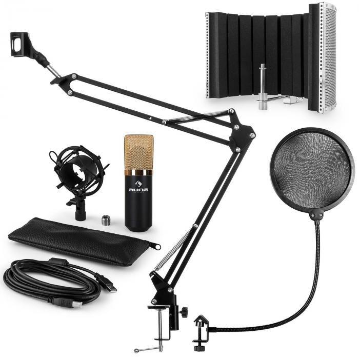Auna MIC-900BG USB kit micro V5 condensateur filtre anti pop et bruit perchette or