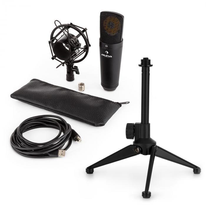 Auna MIC-920B USB kit micro V1 - micro noir à large membrane & trépied de table