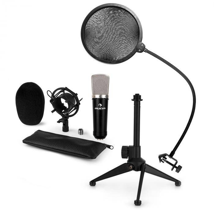 Auna CM00 Set V2 Microphone à condensateur XLR + pied + filtre anti-pop