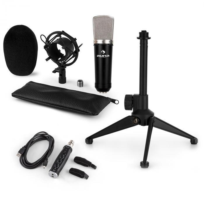 Auna CM003 Set V1 Microphone à condensateur + pied + convertisseur USB