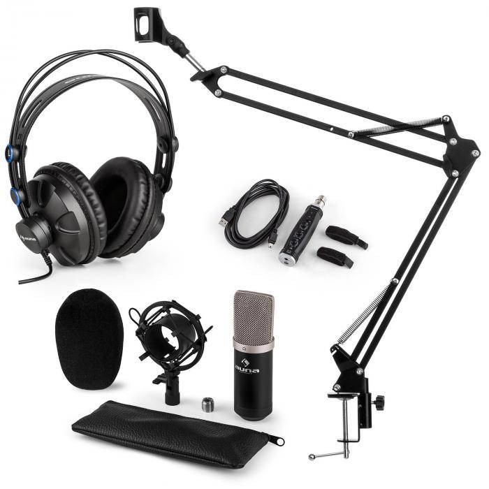 Auna CM003 Set V3 microphone à condensateur convertisseur USB+ casque - noir