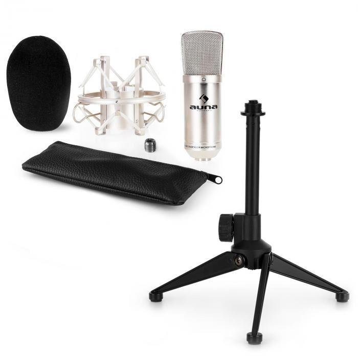Auna CM00S kit micro V1 micro de studio argent trépied table réglable en hauteur