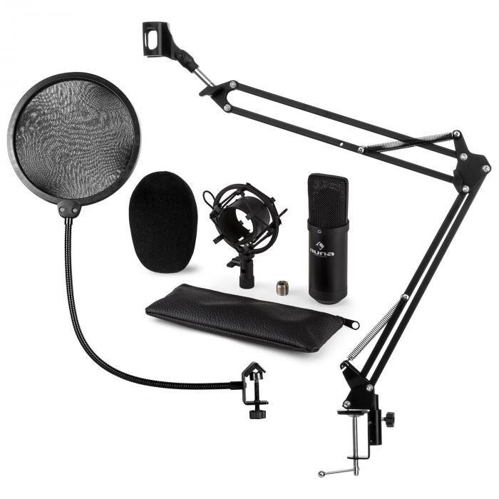 Auna CM001B set microphone V4 micro condensateur perchette protection POP - noir