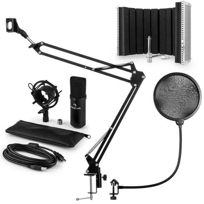 Auna CM001B set microphone V5 micro condensateur perchette protection POP écran - noir