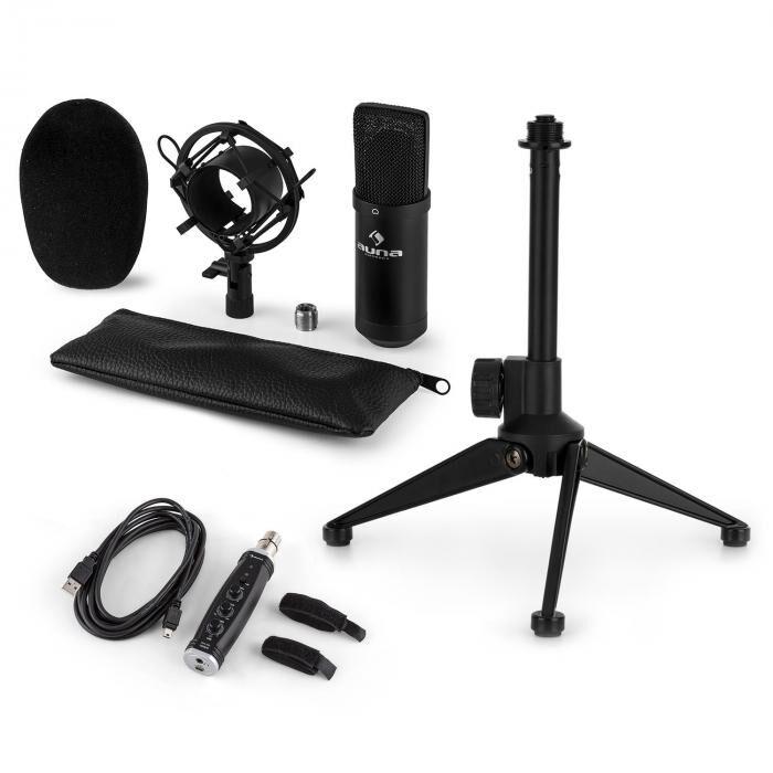 Auna CM001B Set V1 Microphone à condensateur + Adaptateur USB + Pied - noir