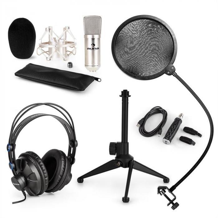 Auna CM001S Set V2 Microphone à condensateur + Casque - argent