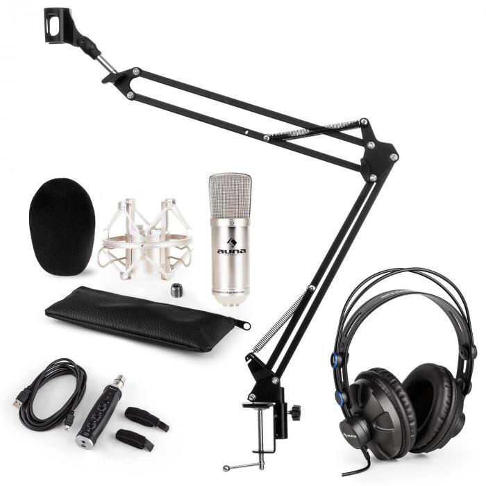 Auna CM003 microphone-kit V3 microphone condensateur adapteur USB perche argent
