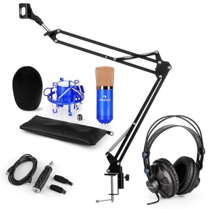 Auna CM001BG set microphone V3 casque condensateur adaptateur USB perchette bleu