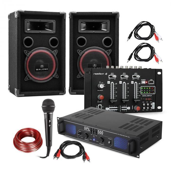 "Electronic-Star Kit de sono pour DJ ""DJ-14"" USB, ampli de sono, mixer USB, 2x enceintes, micro de karaoké"