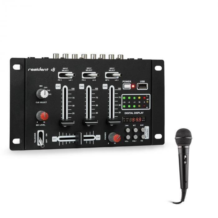 Resident DJ DJ-21 BT Set table de mixage DJ Bluetooth USB + micro - noir