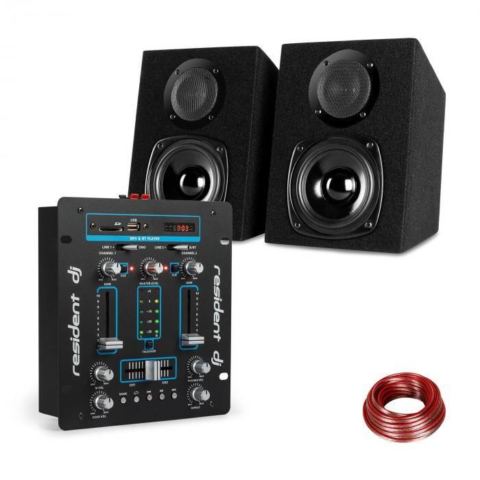 Resident DJ Set Table de mixage Resident DJ avec USB & SD + enceintes auna - noir & bleu