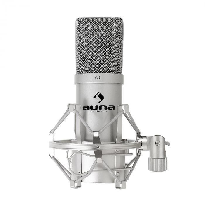 Auna MIC-900S USB Microphone cardioide de studio à condensateur argent