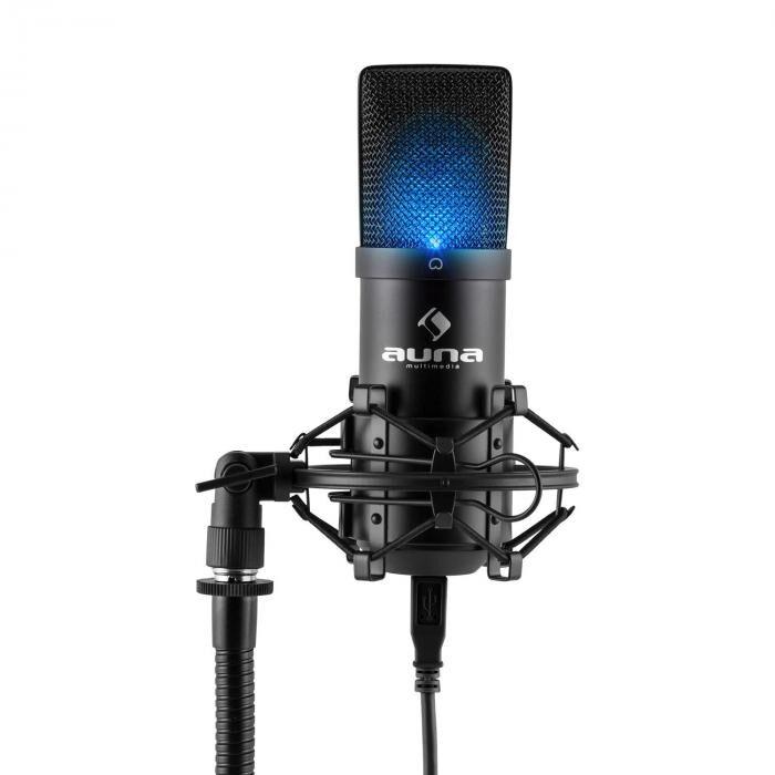 Auna MIC-900B-LEDMicrophone à condensateur USB Studio -noir