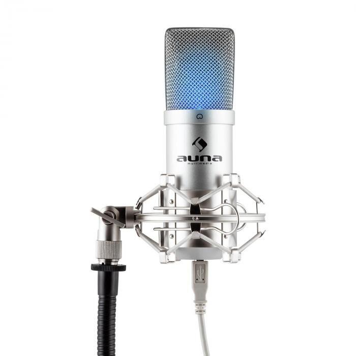 Auna MIC-900S-LEDMicrophone à condensateur USB Studio -argent