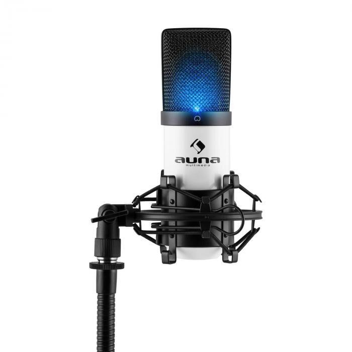 Auna MIC-900-WH LED USB Microphone de studio à condensateur cardioïde – blanc