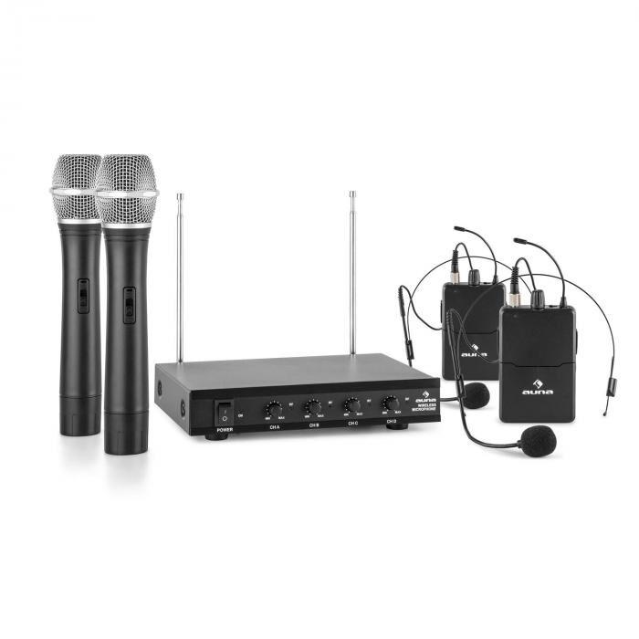 Auna VHF-4-H-HS Système sans fil 4 canaux VHF 2x micro-casque 2x micro à main